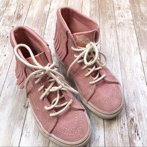 VANS Girls Pink Fringe Skateboard Shoe